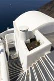 在圣托里尼海岛,基克拉泽斯,希腊的台阶 免版税库存照片