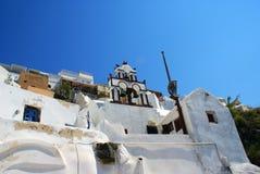 在圣托里尼海岛,希腊上的建筑学 免版税库存图片