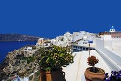 在圣托里尼海岛,希腊上的建筑学 库存图片