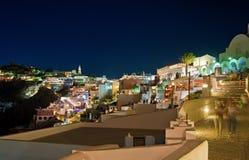 在圣托里尼,希腊的夜Fira 库存图片