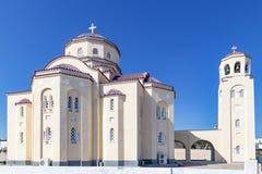 在圣托里尼,希腊的美好的教会贴水哈拉兰博斯 库存照片