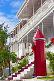 在圣托马斯海岛上的政府房子在圣诞节季节期间 库存照片