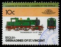 在圣文森特展示Thundersley火车4-4-2T石榴汁糖浆打印的邮票  图库摄影