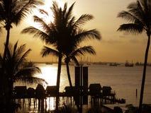 在圣淘沙的日落 免版税图库摄影