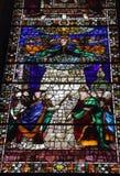 在圣玛丽亚中篇小说的污迹玻璃窗 库存图片