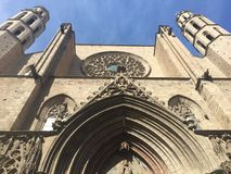 在圣玛丽亚Del Mar教会的看法在巴塞罗那 库存照片