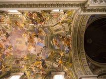 在圣玛丽亚Maggiore大教堂的天花板在罗马意大利 库存图片