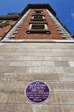 在圣玛丽的医院的亚历山大・弗莱明先生匾在伦敦 免版税库存照片