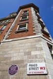 在圣玛丽的医院的亚历山大・弗莱明先生匾在伦敦 免版税图库摄影