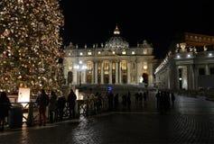 在圣皮特圣徒・彼得` s大教堂前面的圣诞树在梵蒂冈 库存图片