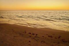 在圣皮特海滩的日落, FL 免版税库存照片
