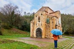 在圣米格尔火山de利洛,阿斯图里亚斯,西班牙的一个雨天 免版税库存照片