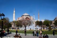 在圣索非亚大教堂和蓝色清真寺伊斯坦布尔之间的公园 免版税库存照片