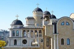 在圣约翰寺庙复杂风雨棚的通告和Spiridonovski大厦浸礼会教友,索契 免版税库存图片