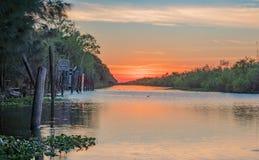 在圣约翰斯河的平静的日落 图库摄影