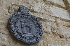 在圣约翰` s英国国教的教堂的匾在巴瑟斯特 免版税库存图片
