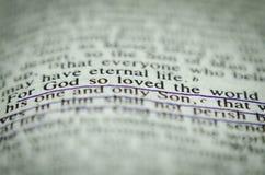 在圣经约翰3的字16 库存照片