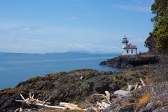 在圣胡安海岛,华盛顿,美国的石灰窑灯塔 免版税图库摄影