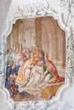 在圣芒市大教堂的壁画在菲森,巴伐利亚,德国 库存照片