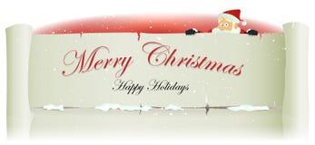 在圣诞快乐羊皮纸Backg后的圣诞老人 免版税图库摄影