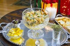 在圣诞晚会的虾开胃菜 库存照片