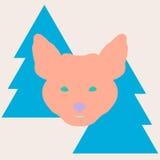 在圣诞树之间的时髦的狐狸头 图库摄影