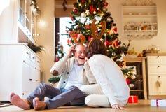 在圣诞树佩带的鹿鹿角前面的资深夫妇 免版税库存照片