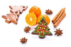 在圣诞树形状的自创姜饼 免版税库存图片