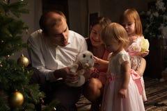在圣诞树旁边的愉快的微笑的家庭 库存图片