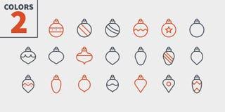 在圣诞树映象点的玩具完善象认真草拟的传染媒介稀薄的线象48x48准备好24x24网的栅格 皇族释放例证