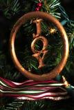 在圣诞树的喜悦装饰品 免版税库存照片