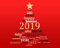 2019在圣诞树的形状的新年多语种文本词云彩贺卡 库存例证