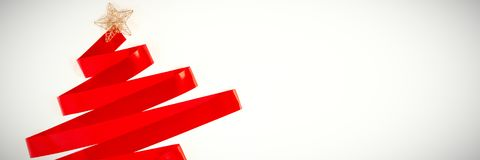 在圣诞树的形状的红色丝带 库存图片