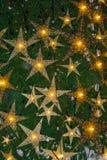 在圣诞树的明亮的星 库存照片