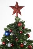 在圣诞树的红色装饰星 免版税图库摄影