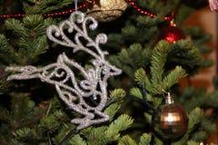 在圣诞树的银色鹿等候高兴和乐趣玻璃的圣诞老人帽子快活的闪亮金属片 库存照片