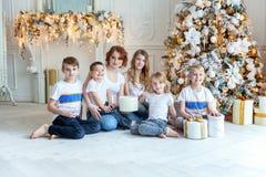 在圣诞树附近照顾和五个孩子 免版税图库摄影