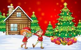 在圣诞树附近的两个嬉戏的矮人 库存照片