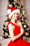 年轻在圣诞树附近的秀丽微笑的圣诞老人妇女 Fashio 库存图片
