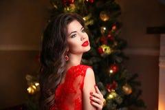 在圣诞树附近的美丽的微笑的妇女 深色的女孩与 免版税图库摄影