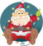 在圣诞灯传染媒介缠结的滑稽的圣诞老人 库存照片