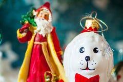 在圣诞老人帽子和圣诞节礼物的一个玩具狗在具球果分支背景  库存照片