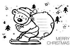 在圣诞老人帽子圣诞节字符的动画片北极熊 库存图片