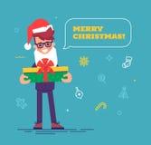 在圣诞老人帽子的商人有给礼物的胡子的 免版税库存照片