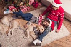 在圣诞老人帽子的夫妇有狗的 免版税库存照片