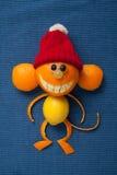 在圣诞老人帽子的愉快的圣诞节猴子 免版税库存照片