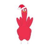 在圣诞老人帽子的红色雄鸡额骨 库存照片