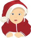 在圣诞老人盖帽的孩子  库存图片