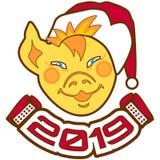 在圣诞老人项目帽子的面孔小猪与口琴的和题字2019年 祝贺新年 皇族释放例证