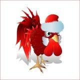 在圣诞老人` s盖帽的红色雄鸡 免版税库存图片
